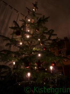 Geschmückter Weihnachtsbaum im Kerzenlicht