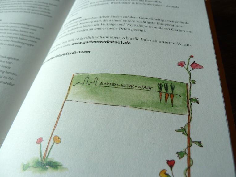 Illustration im TaschenGarten 2021: ein Banner der GartenWerkStadt Marburg, die den Kalender herausgibt