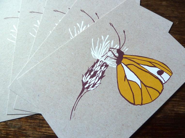 Gartenpostkarte mit illustriertem Schmetterling